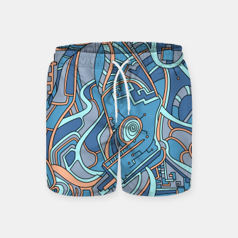 Thumbnail image of Wandering Abstract Line Art 44: Blue Swim Shorts, Live Heroes