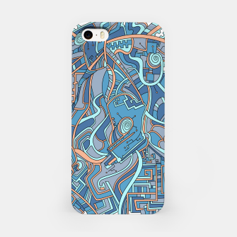 Thumbnail image of Wandering Abstract Line Art 44: Blue iPhone Case, Live Heroes