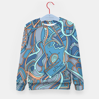 Thumbnail image of Wandering Abstract Line Art 44: Blue Kid's sweater, Live Heroes