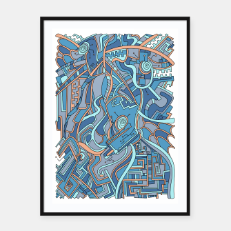 Thumbnail image of Wandering Abstract Line Art 44: Blue Framed poster, Live Heroes
