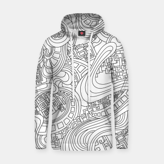 Thumbnail image of Wandering Abstract Line Art 45: Black & White Hoodie, Live Heroes