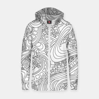 Thumbnail image of Wandering Abstract Line Art 45: Black & White Zip up hoodie, Live Heroes