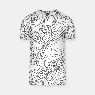 Thumbnail image of Wandering Abstract Line Art 45: Black & White T-shirt, Live Heroes