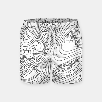 Thumbnail image of Wandering Abstract Line Art 45: Black & White Swim Shorts, Live Heroes