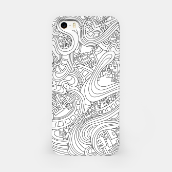 Thumbnail image of Wandering Abstract Line Art 45: Black & White iPhone Case, Live Heroes