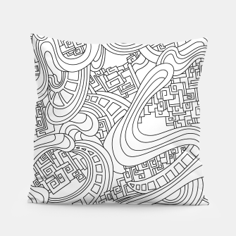 Thumbnail image of Wandering Abstract Line Art 45: Black & White Pillow, Live Heroes