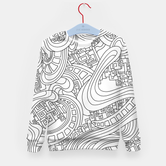 Thumbnail image of Wandering Abstract Line Art 45: Black & White Kid's sweater, Live Heroes