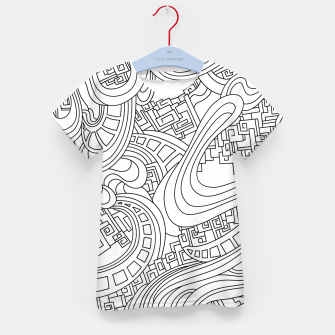 Thumbnail image of Wandering Abstract Line Art 45: Black & White Kid's t-shirt, Live Heroes