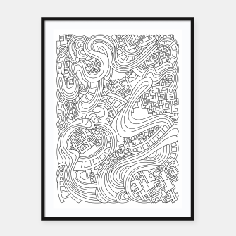 Thumbnail image of Wandering Abstract Line Art 45: Black & White Framed poster, Live Heroes