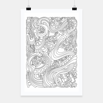 Thumbnail image of Wandering Abstract Line Art 45: Black & White Poster, Live Heroes