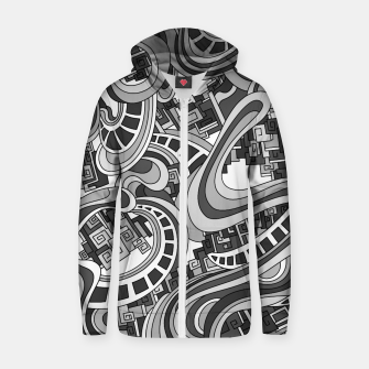 Thumbnail image of Wandering Abstract Line Art 45: Grayscale Zip up hoodie, Live Heroes