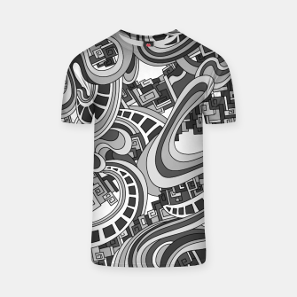 Thumbnail image of Wandering Abstract Line Art 45: Grayscale T-shirt, Live Heroes