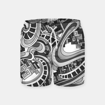 Thumbnail image of Wandering Abstract Line Art 45: Grayscale Swim Shorts, Live Heroes