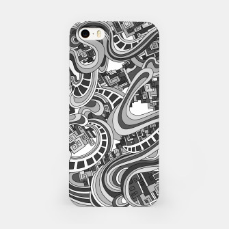 Thumbnail image of Wandering Abstract Line Art 45: Grayscale iPhone Case, Live Heroes