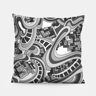 Thumbnail image of Wandering Abstract Line Art 45: Grayscale Pillow, Live Heroes