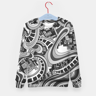 Thumbnail image of Wandering Abstract Line Art 45: Grayscale Kid's sweater, Live Heroes