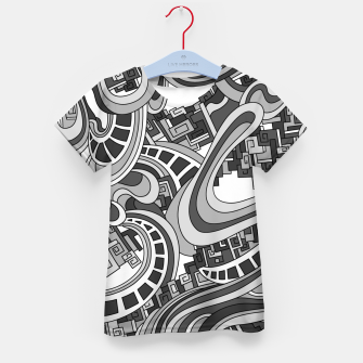 Thumbnail image of Wandering Abstract Line Art 45: Grayscale Kid's t-shirt, Live Heroes