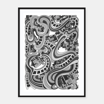 Thumbnail image of Wandering Abstract Line Art 45: Grayscale Framed poster, Live Heroes