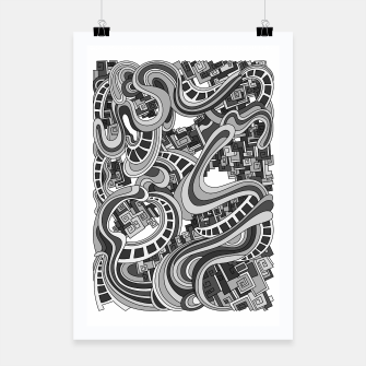 Thumbnail image of Wandering Abstract Line Art 45: Grayscale Poster, Live Heroes