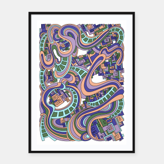 Thumbnail image of Wandering Abstract Line Art 45: Purple Framed poster, Live Heroes