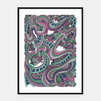 Thumbnail image of Wandering Abstract Line Art 45: Pink Framed poster, Live Heroes
