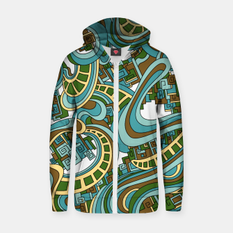 Thumbnail image of Wandering Abstract Line Art 45: Blue Zip up hoodie, Live Heroes