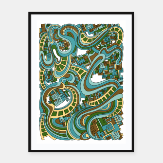 Thumbnail image of Wandering Abstract Line Art 45: Blue Framed poster, Live Heroes