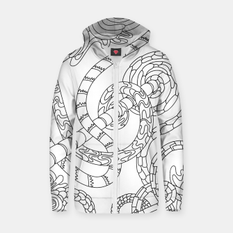 Thumbnail image of Wandering Abstract Line Art 46: Black & White Zip up hoodie, Live Heroes