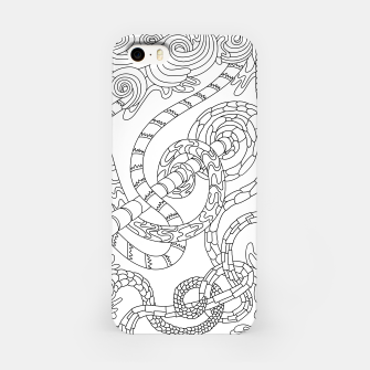 Thumbnail image of Wandering Abstract Line Art 46: Black & White iPhone Case, Live Heroes