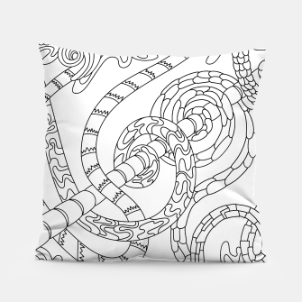 Thumbnail image of Wandering Abstract Line Art 46: Black & White Pillow, Live Heroes