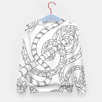 Thumbnail image of Wandering Abstract Line Art 46: Black & White Kid's sweater, Live Heroes