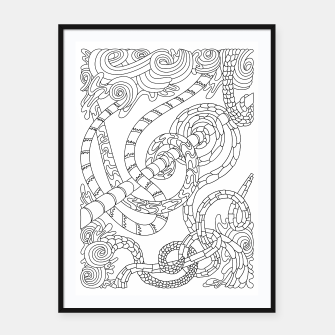 Thumbnail image of Wandering Abstract Line Art 46: Black & White Framed poster, Live Heroes