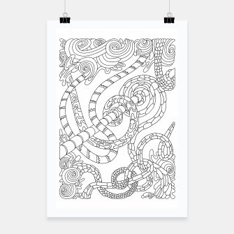 Thumbnail image of Wandering Abstract Line Art 46: Black & White Poster, Live Heroes