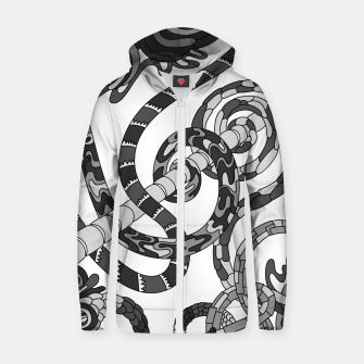 Thumbnail image of Wandering Abstract Line Art 46: Grayscale Zip up hoodie, Live Heroes