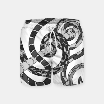 Thumbnail image of Wandering Abstract Line Art 46: Grayscale Swim Shorts, Live Heroes