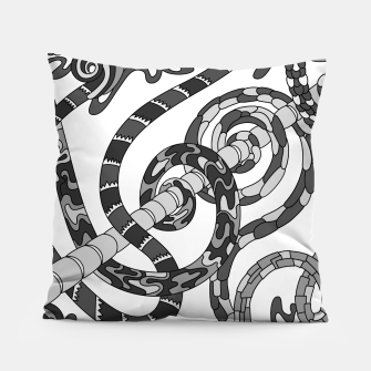 Thumbnail image of Wandering Abstract Line Art 46: Grayscale Pillow, Live Heroes