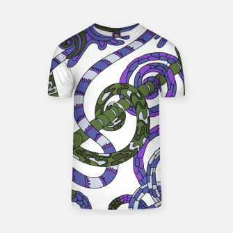 Thumbnail image of Wandering Abstract Line Art 46: Purple T-shirt, Live Heroes