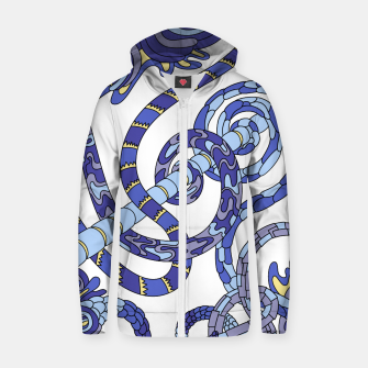 Thumbnail image of Wandering Abstract Line Art 46: Blue Zip up hoodie, Live Heroes