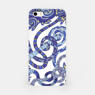 Thumbnail image of Wandering Abstract Line Art 46: Blue iPhone Case, Live Heroes