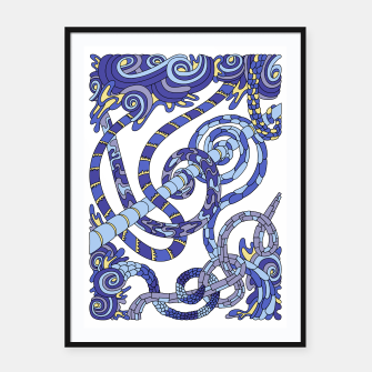 Thumbnail image of Wandering Abstract Line Art 46: Blue Framed poster, Live Heroes