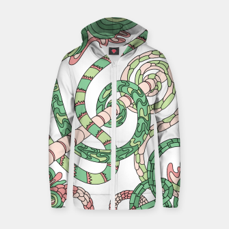 Thumbnail image of Wandering Abstract Line Art 46: Green Zip up hoodie, Live Heroes