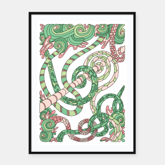 Thumbnail image of Wandering Abstract Line Art 46: Green Framed poster, Live Heroes