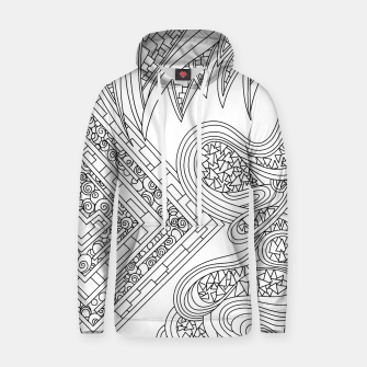 Thumbnail image of Wandering Abstract Line Art 47: Black & White Hoodie, Live Heroes