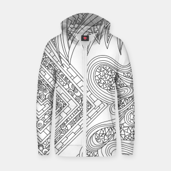 Thumbnail image of Wandering Abstract Line Art 47: Black & White Zip up hoodie, Live Heroes