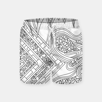Thumbnail image of Wandering Abstract Line Art 47: Black & White Swim Shorts, Live Heroes