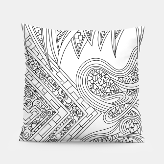 Thumbnail image of Wandering Abstract Line Art 47: Black & White Pillow, Live Heroes