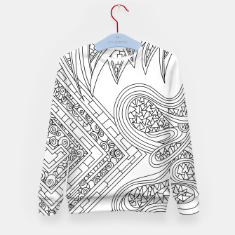Thumbnail image of Wandering Abstract Line Art 47: Black & White Kid's sweater, Live Heroes