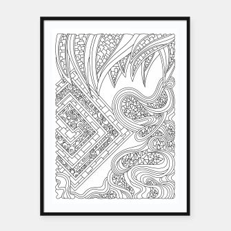 Thumbnail image of Wandering Abstract Line Art 47: Black & White Framed poster, Live Heroes