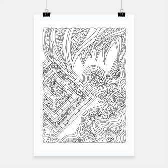 Thumbnail image of Wandering Abstract Line Art 47: Black & White Poster, Live Heroes