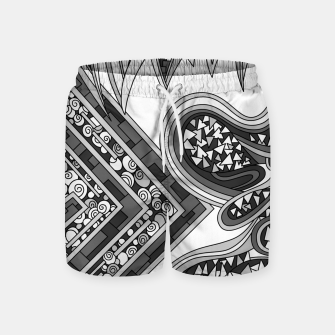 Thumbnail image of Wandering Abstract Line Art 47: Grayscale Swim Shorts, Live Heroes
